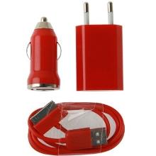 3v1 nabíjecí sada pro Apple iPhone / iPod - EU adaptér, autonabíječka a 30pin kabel - červená
