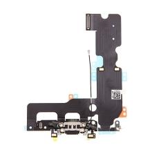 Napájecí a datový konektor s flex kabelem + GSM anténa + mikrofony pro Apple iPhone 7 Plus - černý - kvalita A+