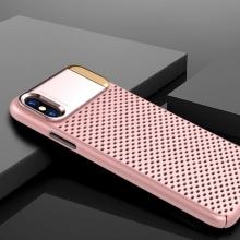 Kryt pro Apple iPhone X - perforovaný / s otvory - kovový stojánek - plastový - růžový