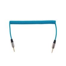 Spirálový flexibilní propojovací audio jack kabel 3,5mm pro Apple iPhone / iPad / iPod a další zařízení - modrý