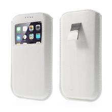 Pouzdro pro Apple iPhone 6 / 6S - vytahovací poutko + průhledné okno / výřez - bílé