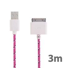 Synchronizační a nabíjecí kabel s 30pin konektorem pro Apple iPhone / iPad / iPod - tkanička - růžový - 3m