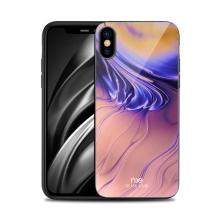 Kryt NXE pro Apple iPhone X / Xs - gumový / skleněný - barevný přechod - oranžový