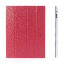 Pouzdro + Smart Cover pro Apple iPad 2. / 3. / 4.gen. - červené průhledné - elegantní textura