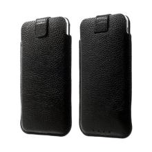 Kožené pouzdro pro Apple iPhone 6 / 6S s vytahovacím poutkem - černé