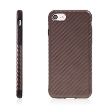 Kryt ROCK pro Apple iPhone 7 / 8 gumový / karbonový vzor - hnědý
