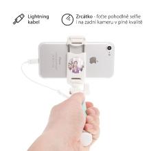 Selfie tyč / monopod USAMS - kabelová spoušť s lightning konektorem + zrcátko - tyrkysová