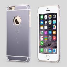 Hliníkový / silikonový kryt USAMS pro Apple iPhone 6 / 6S - výřez pro logo zdobený kamínky - šedý
