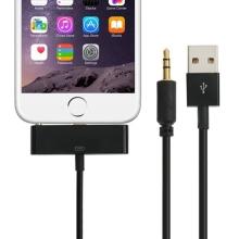 Synchronizační, nabíjecí a 3,5 mm AUX audio propojovací kabel pro Apple iPhone 6 / 6S - černý - 1m