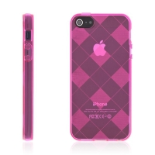 Ochranný gumový kryt pro Apple iPhone 5 / 5S / SE - růžový se vzorem kosočtverců
