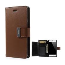 Pouzdro Mercury ve stylu peněženky s magneticky uzavíracím klipem pro Apple iPhone 6 Plus / 6S Plus - hnědo-černé