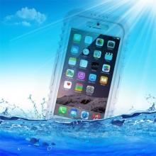 Pouzdro pro Apple iPhone 6 / 6S voděodolné - plast / silikon + šňůrka na krk - bílý / průhledný
