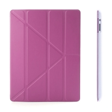 Ochranné pouzdro s variabilním stojánkem a funkcí chytrého uspání a probuzení pro Apple iPad 2. / 3. / 4.gen. - růžovo-průhledné