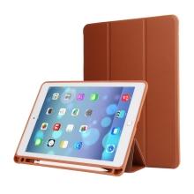 """Pouzdro / kryt pro Apple iPad Air 10,5"""" / Pro 10,5"""" - funkce chytrého uspání + stojánek - gumová záda - hnědé"""