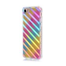 Kryt pro Apple iPhone 7 / 8 - gumový / plastový - duhový / stříbrné pruhy