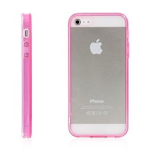 Ochranný plasto-gumový kryt s antiprachovou záslepkou pro Apple iPhone 5 / 5S / SE - průhledný s růžovým rámečkem