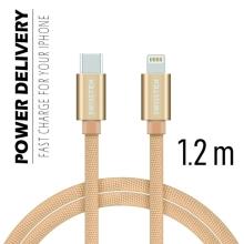 Synchronizační a nabíjecí kabel SWISSTEN - USB-C - Lightning pro Apple zařízení - tkanička - zlatý - 1,2m