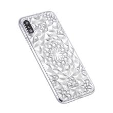Kryt SULADA pro Apple iPhone X - 3D diamantová textura - gumový - průhledný