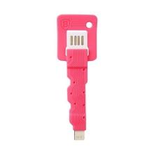 Mini synchronizační a nabíjecí kabel Lightning BASEUS Key Design pro Apple iPhone / iPad / iPod - růžový