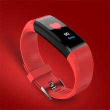 Sportovní fitness náramek - tlakoměr / krokoměr / měřič tepu - Bluetooth - vodotěsný - červený