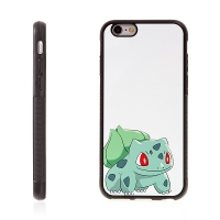 Kryt pro Apple iPhone 6 / 6S - kovový povrch - gumový - Pokemon Go / Bulbasaur 2