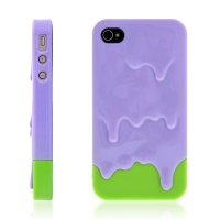 Plastový kryt pro Apple iPhone 4 / 4S - tající zmrzlina - fialovo-zelený