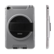 Pouzdro pro Apple iPad mini 4 plasto-gumové odolné - 360° otočný stojánek a držák / pásek na ruku - šedé