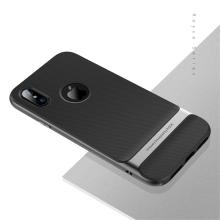 Kryt ROCK Royce pro Apple iPhone X - gumový / plastový - černý / šedý rámeček