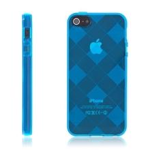 Ochranný gumový kryt pro Apple iPhone 5 / 5S / SE - modrý se vzorem kosočtverců