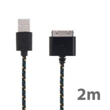 Synchronizační a nabíjecí kabel s 30pin konektorem pro Apple iPhone / iPad / iPod - tkanička - černý - 2m