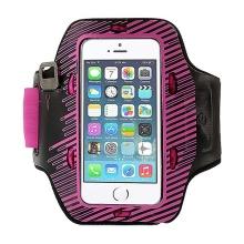 Sportovní svítící pouzdro s LED diodami pro Apple iPhone 5 / 5C / 5S / SE - černo-růžové