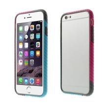 Plasto-gumový rámeček / bumper pro Apple iPhone 6 / 6S - vroubkatý modro-růžovo-šedý