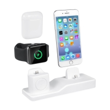 Nabíjecí stanice / stojánek pro Apple iPhone + AirPods + Watch - silikonový - bílý