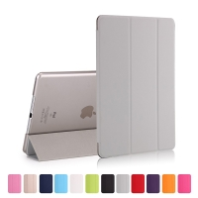 Pouzdro / kryt pro Apple iPad 9,7 (2017-2018) - funkce chytrého uspání + stojánek - šedé / průsvitné šedé