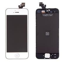 LCD panel + dotykové sklo (touch screen digitizér) + Home Button pro Apple iPhone 5 - pogalvanizovaný povrch - stříbrný