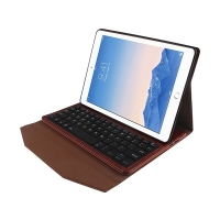Elegantní pouzdro + odnímatelná klávesnice Bluetooth 2v1 pro Apple iPad Air 2 - hnědé
