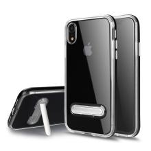 Kryt pro Apple iPhone Xr - stojánek - gumový / plastový - průhledný / černý