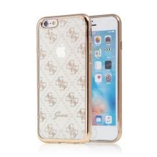 Kryt GUESS pro Apple iPhone 6 / 6S - gumový - průhledný / zlatý