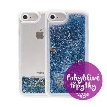 Kryt GUESS pro Apple iPhone 6 / 6S / 7 / 8 - plastový - glitter / modré třpytky