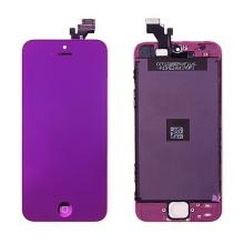 LCD panel + dotykové sklo (touch screen digitizér) + Home Button pro Apple iPhone 5 - pogalvanizovaný povrch - fialový