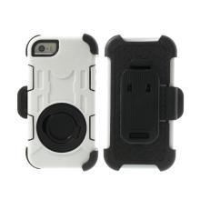 Pouzdro pro Apple iPhone 5 / 5C / 5S / SE outdoor plasto-silikonové - 360° otočný klip a stojánek - bílé