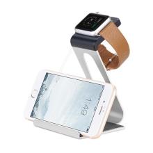 Hliníkový nabíjecí stojánek HOCO pro Apple iPhone a Apple Watch 38mm / 42mm - stříbrný