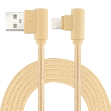 Synchronizační a nabíjecí kabel - Lightning pro Apple zařízení - tkanička - 90° lomená koncovka Lightning - zlatý - 1m