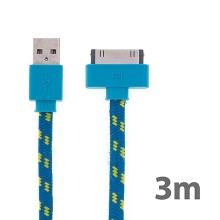 Synchronizační a nabíjecí kabel s 30pin konektorem pro Apple iPhone / iPad / iPod - tkanička - plochý modrý - 3m