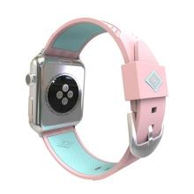 Řemínek pro Apple Watch 44mm Series 4 / 38mm 1 2 3 - silikonový - růžový / zelený pruh
