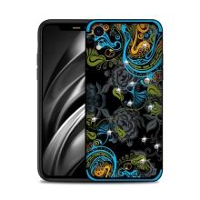 Kryt NXE pro Apple iPhone Xr - květinový motiv s kamínky - modrý