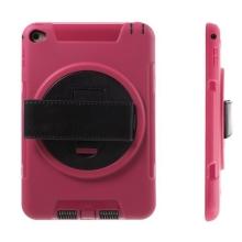 Pouzdro pro Apple iPad mini 4 plasto-gumové odolné - 360° otočný stojánek a držák / pásek na ruku - růžové