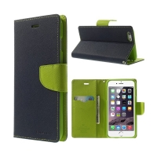 Pouzdro Mercury Goospery pro Apple iPhone 6 Plus / 6S Plus - stojánek a prostor pro platební karty - modro-zelené