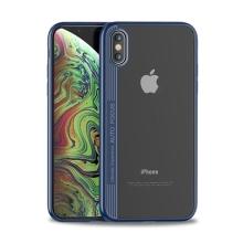 Kryt IPAKY pro Apple iPhone Xs Max - plastový / gumový - průhledný / tmavě modrý