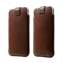 Kožené pouzdro pro Apple iPhone 6 / 6S s vytahovacím poutkem - hnědé